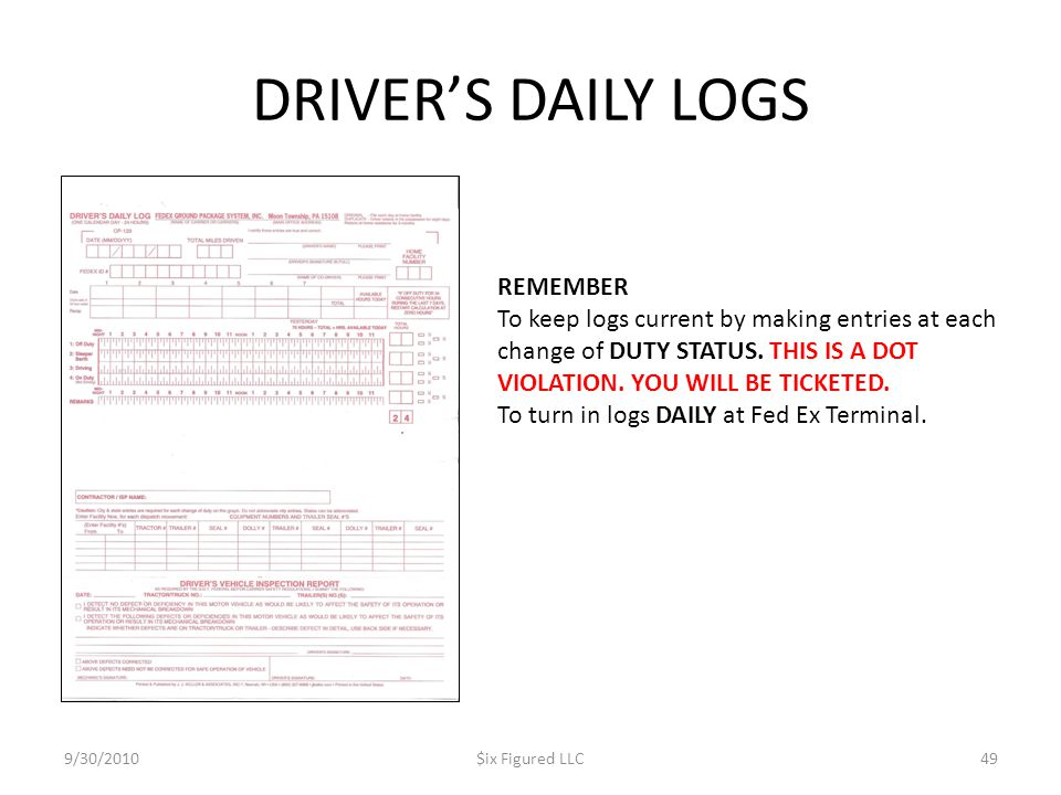 DRIVER'S DAILY LOGS 9/30/2010$ix Figured LLC49 REMEMBER To keep logs current by making entries at each change of DUTY STATUS.
