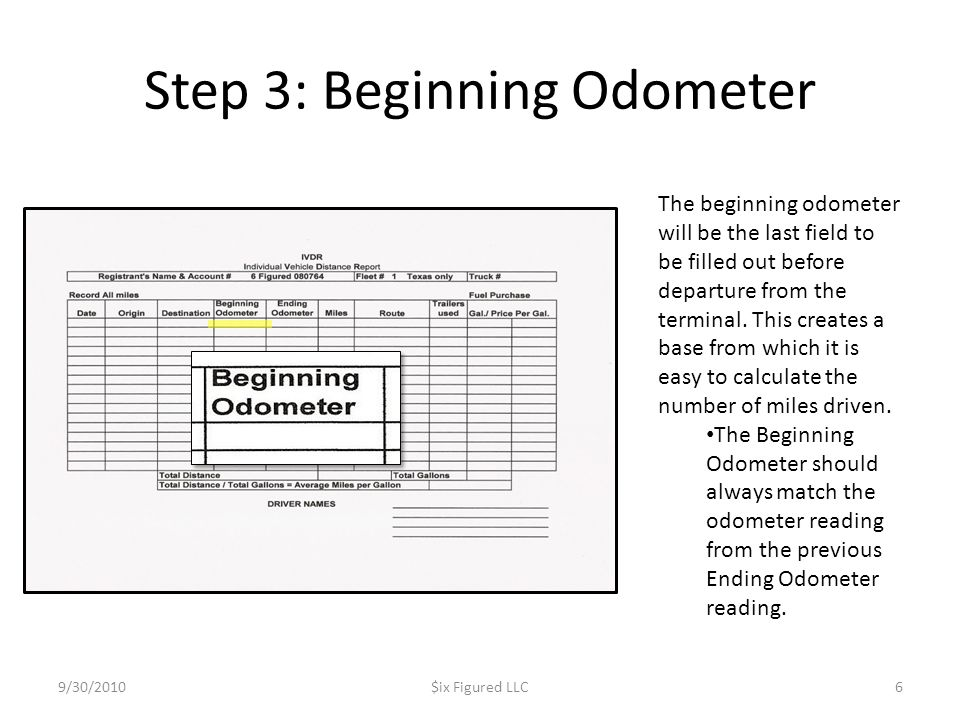 Step 3: Beginning Odometer 9/30/2010$ix Figured LLC6 The beginning odometer will be the last field to be filled out before departure from the terminal