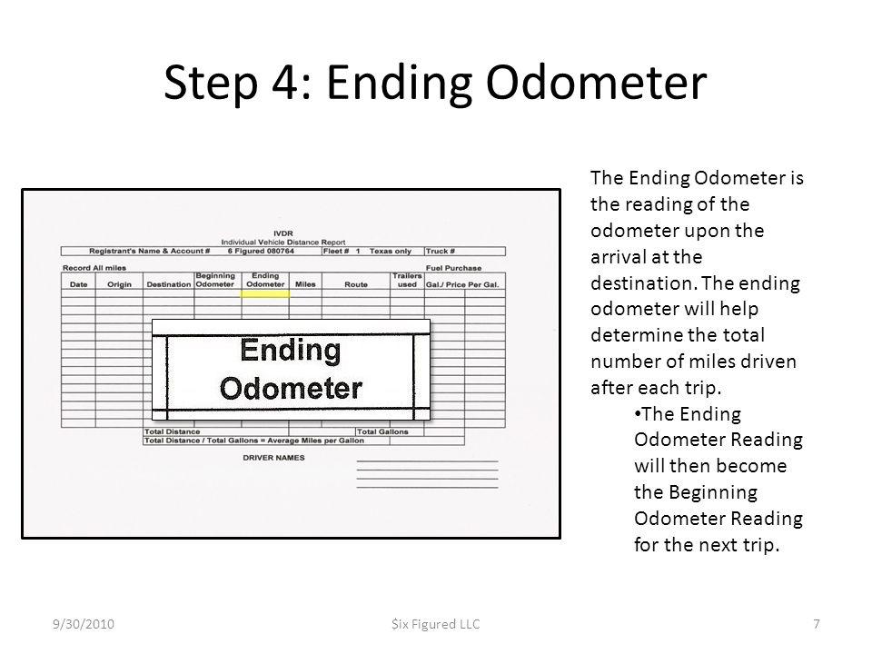Step 4: Ending Odometer 9/30/2010$ix Figured LLC7 The Ending Odometer is the reading of the odometer upon the arrival at the destination. The ending o