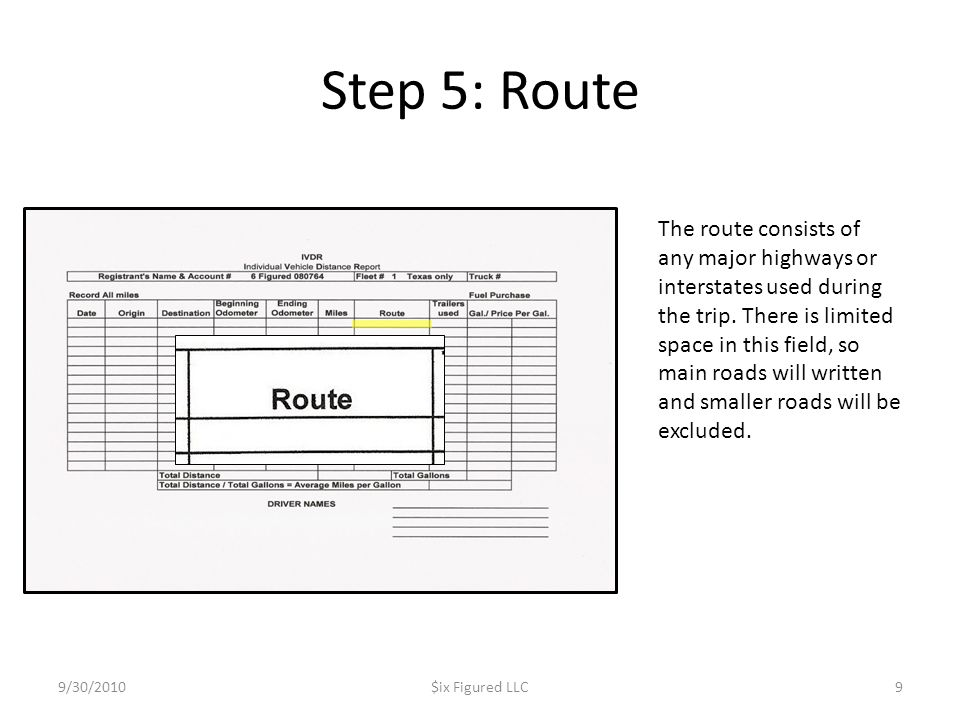 Step 5: Route 9/30/2010$ix Figured LLC9 The route consists of any major highways or interstates used during the trip. There is limited space in this f