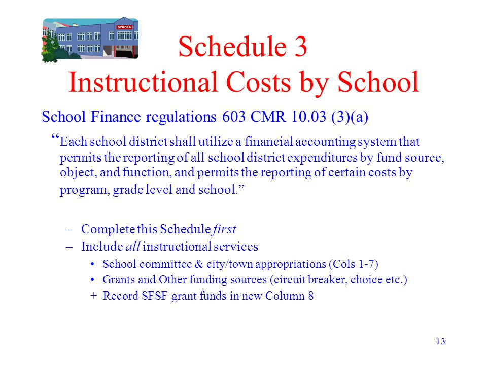 """13 Schedule 3 Instructional Costs by School School Finance regulations 603 CMR 10.03 (3)(a) """" Each school district shall utilize a financial accountin"""