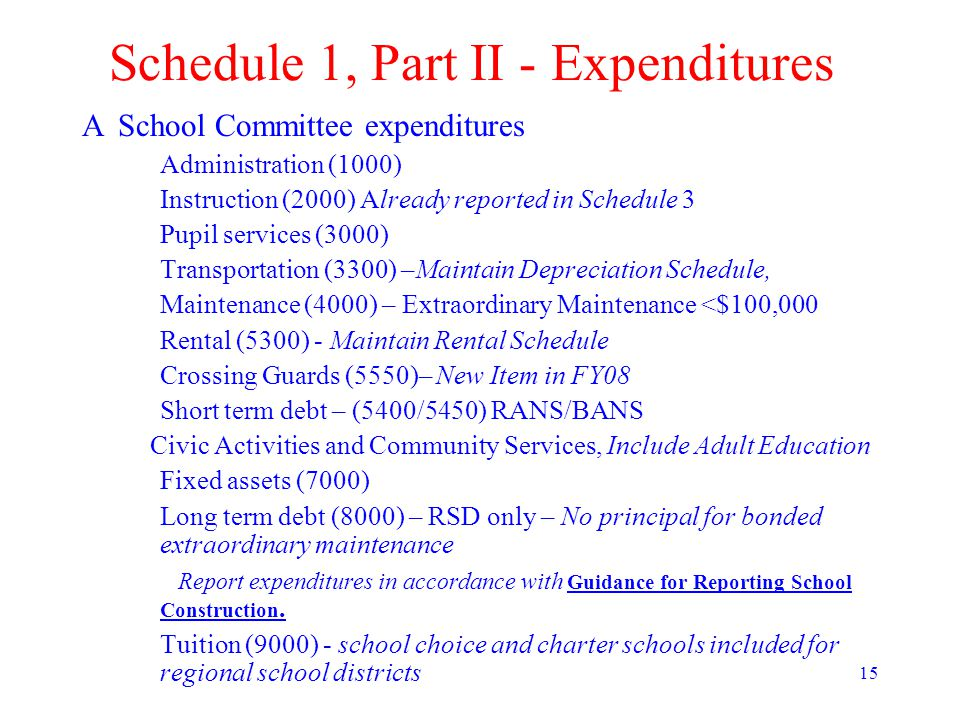 15 Schedule 1, Part II - Expenditures ASchool Committee expenditures Administration (1000) Instruction (2000) Already reported in Schedule 3 Pupil services (3000) Transportation (3300) –Maintain Depreciation Schedule, Maintenance (4000) – Extraordinary Maintenance <$100,000 Rental (5300) - Maintain Rental Schedule Crossing Guards (5550)– New Item in FY08 Short term debt – (5400/5450) RANS/BANS Civic Activities and Community Services, Include Adult Education Fixed assets (7000) Long term debt (8000) – RSD only – No principal for bonded extraordinary maintenance Report expenditures in accordance with Guidance for Reporting School Construction.