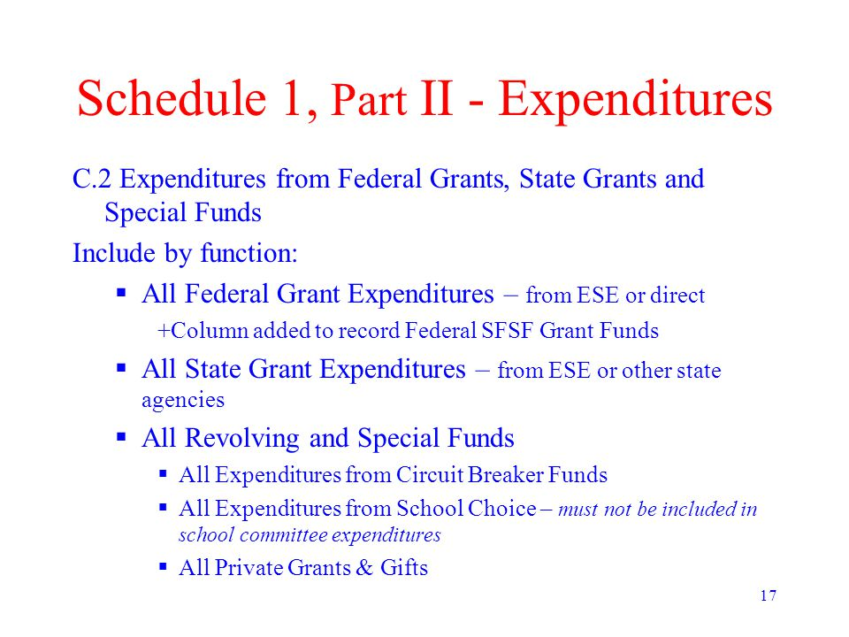 17 Schedule 1, Part II - Expenditures C.2 Expenditures from Federal Grants, State Grants and Special Funds Include by function:  All Federal Grant Expenditures – from ESE or direct +Column added to record Federal SFSF Grant Funds  All State Grant Expenditures – from ESE or other state agencies  All Revolving and Special Funds  All Expenditures from Circuit Breaker Funds  All Expenditures from School Choice – must not be included in school committee expenditures  All Private Grants & Gifts