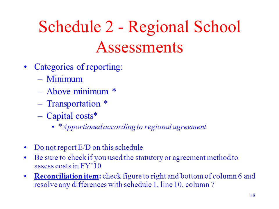 18 Schedule 2 - Regional School Assessments Categories of reporting: –Minimum –Above minimum * –Transportation * –Capital costs* *Apportioned according to regional agreement Do not report E/D on this schedule Be sure to check if you used the statutory or agreement method to assess costs in FY'10 Reconciliation item: check figure to right and bottom of column 6 and resolve any differences with schedule 1, line 10, column 7