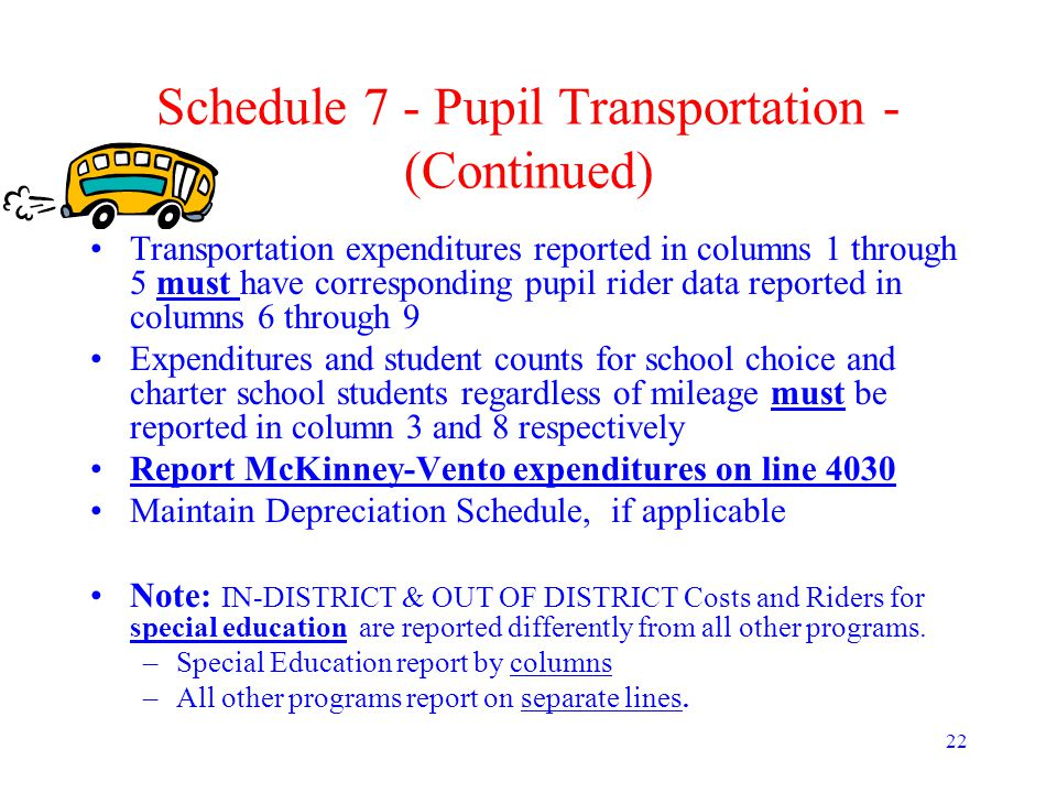 22 Schedule 7 - Pupil Transportation - (Continued) Transportation expenditures reported in columns 1 through 5 must have corresponding pupil rider dat