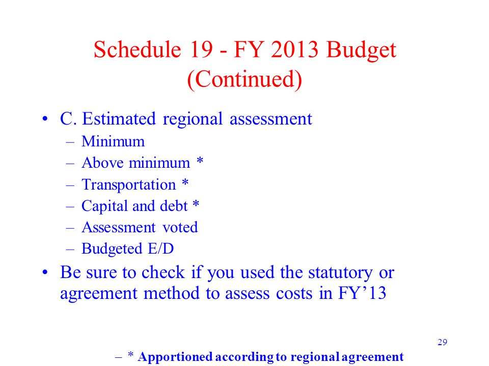 29 Schedule 19 - FY 2013 Budget (Continued) C. Estimated regional assessment –Minimum –Above minimum * –Transportation * –Capital and debt * –Assessme