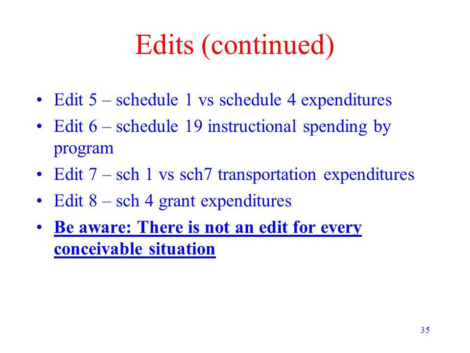 35 Edits (continued) Edit 5 – schedule 1 vs schedule 4 expenditures Edit 6 – schedule 19 instructional spending by program Edit 7 – sch 1 vs sch7 tran