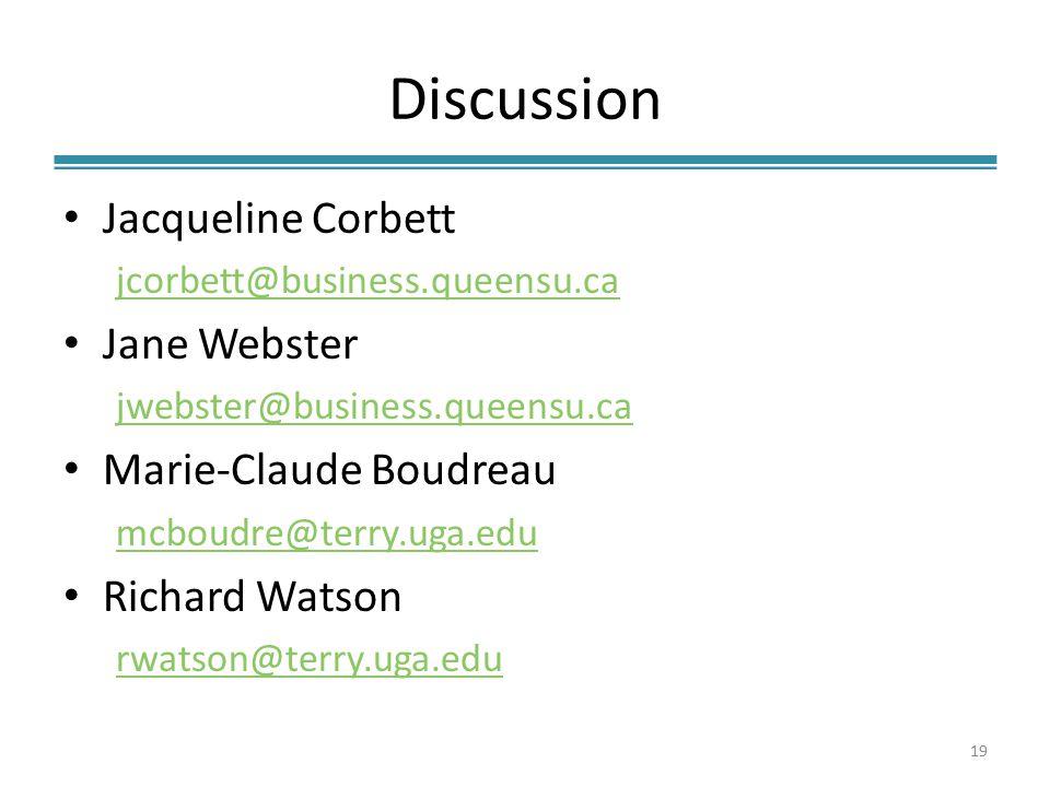 Discussion Jacqueline Corbett jcorbett@business.queensu.ca Jane Webster jwebster@business.queensu.ca Marie-Claude Boudreau mcboudre@terry.uga.edu Richard Watson rwatson@terry.uga.edu 19