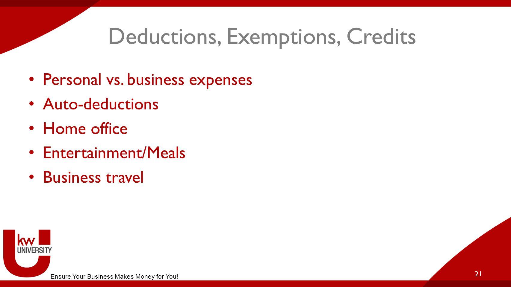 Deductions, Exemptions, Credits Personal vs.