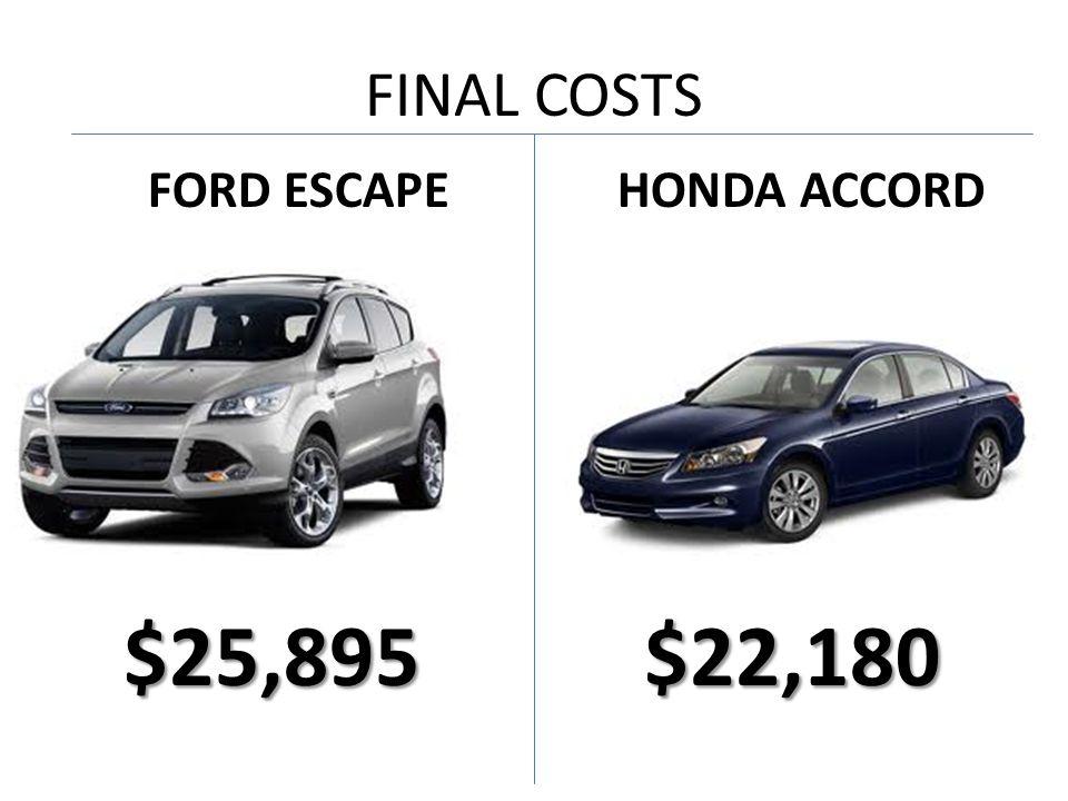 FINAL COSTS FORD ESCAPE $25,895 HONDA ACCORD $22,180