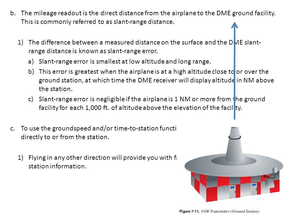 b.The mileage readout is the direct distance from the airplane to the DME ground facility.