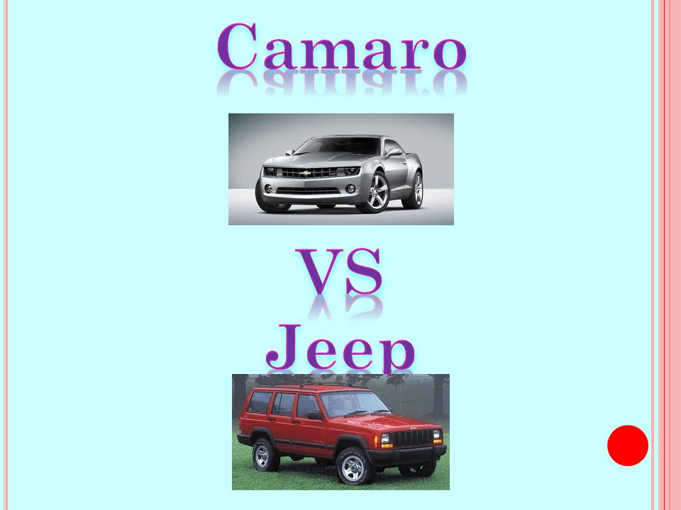 A COMPARISON OF TWO CARS I WOULD LIKE TO OWN : A C AMARO AND A JEEP CHEROKEE Presented by: Janessa Secrest Project 15 – CAR PURCHASE Wednesday, May 02, 2012