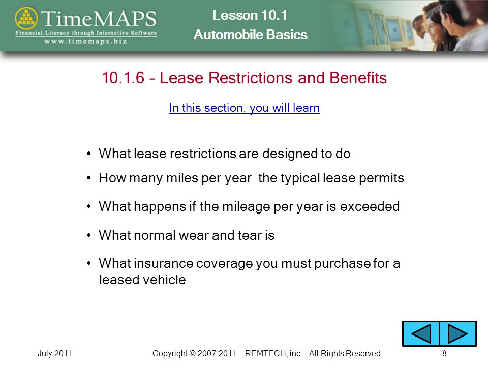Lesson 10.1 Automobile Basics July 2011Copyright © 2007-2011 … REMTECH, inc … All Rights Reserved9 Discussion Questions Why does the popularity of leasing vehicles seem to come and go.