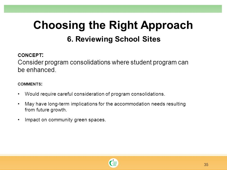 Choosing the Right Approach 35 6. Reviewing School Sites CONCEPT : Consider program consolidations where student program can be enhanced. COMMENTS : W