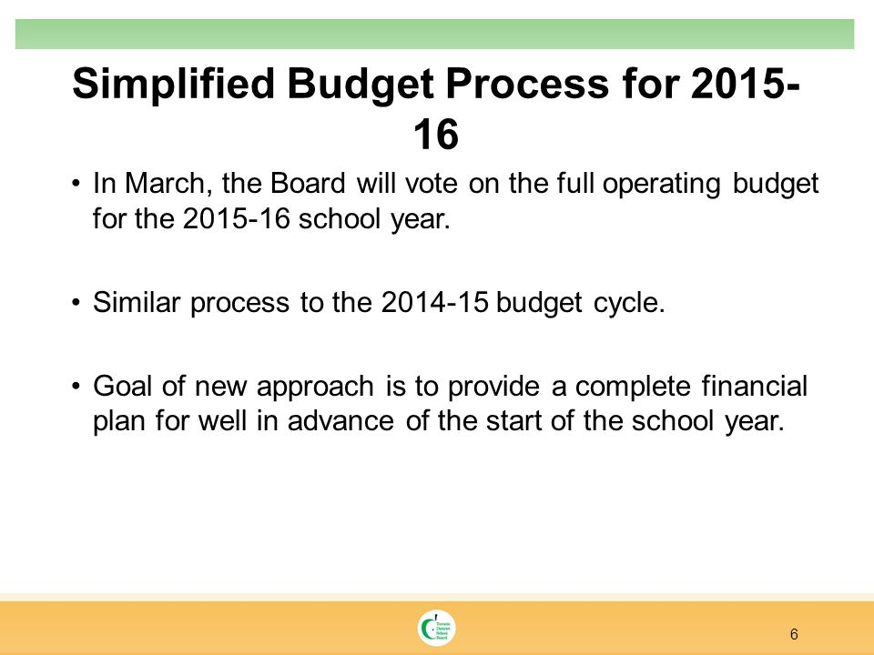 Simplified Budget Process for 2015- 16 6 In March, the Board will vote on the full operating budget for the 2015-16 school year. Similar process to th