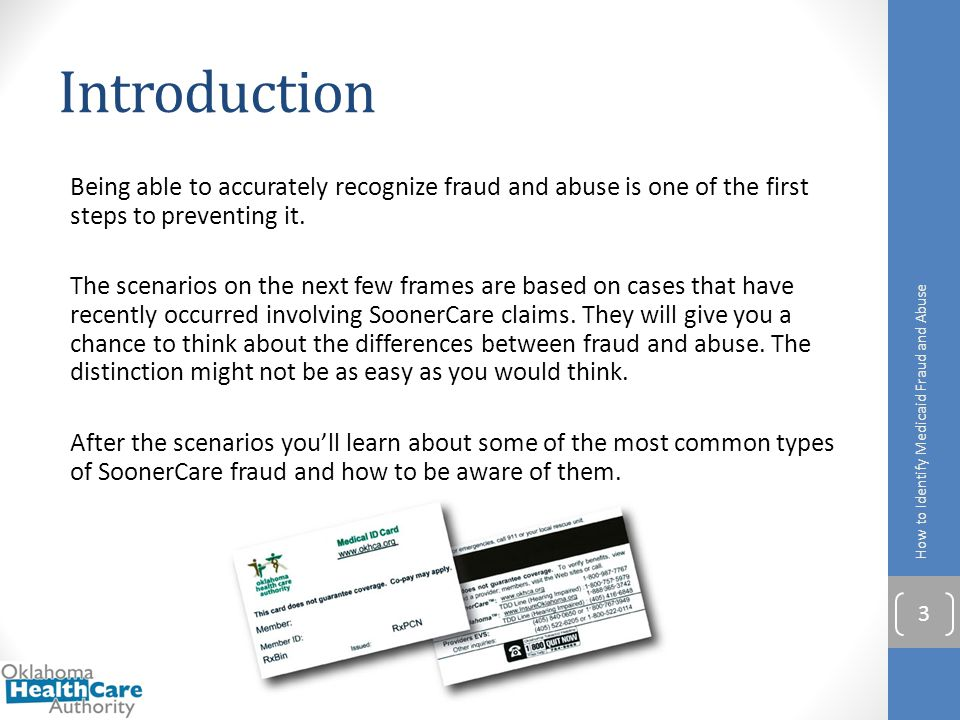 Introduction Being able to accurately recognize fraud and abuse is one of the first steps to preventing it. The scenarios on the next few frames are b