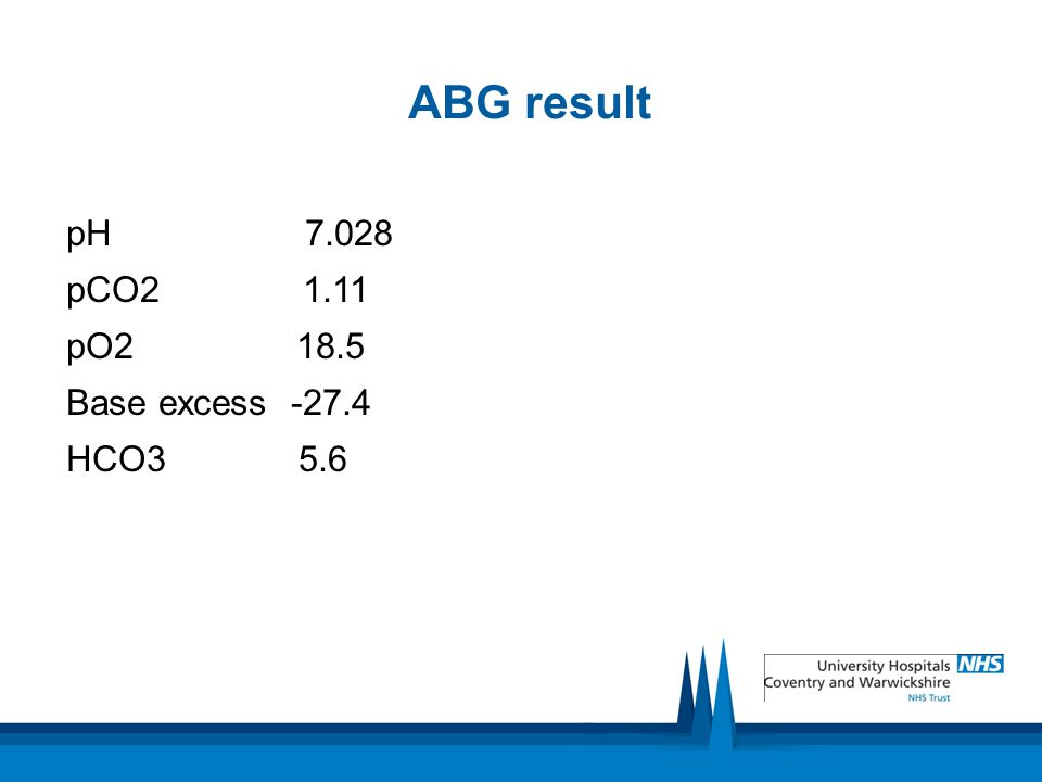 ABG result pH 7.028 pCO2 1.11 pO2 18.5 Base excess -27.4 HCO3 5.6