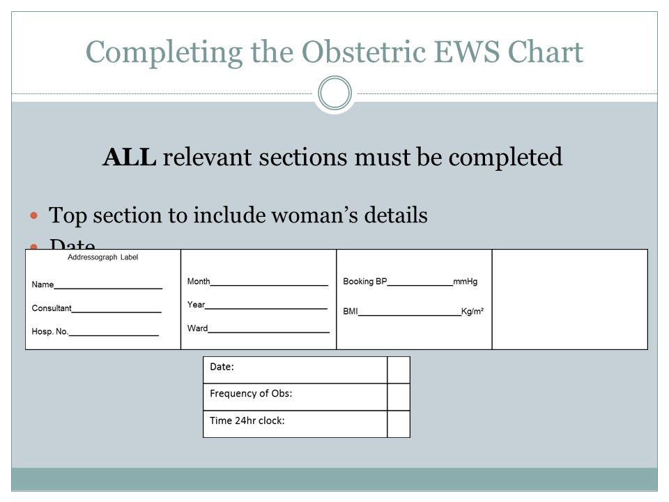 Completing the Obstetric EWS Chart ALL relevant sections must be completed Top section to include woman's details Date Frequency of Obs Time (24 hr cl
