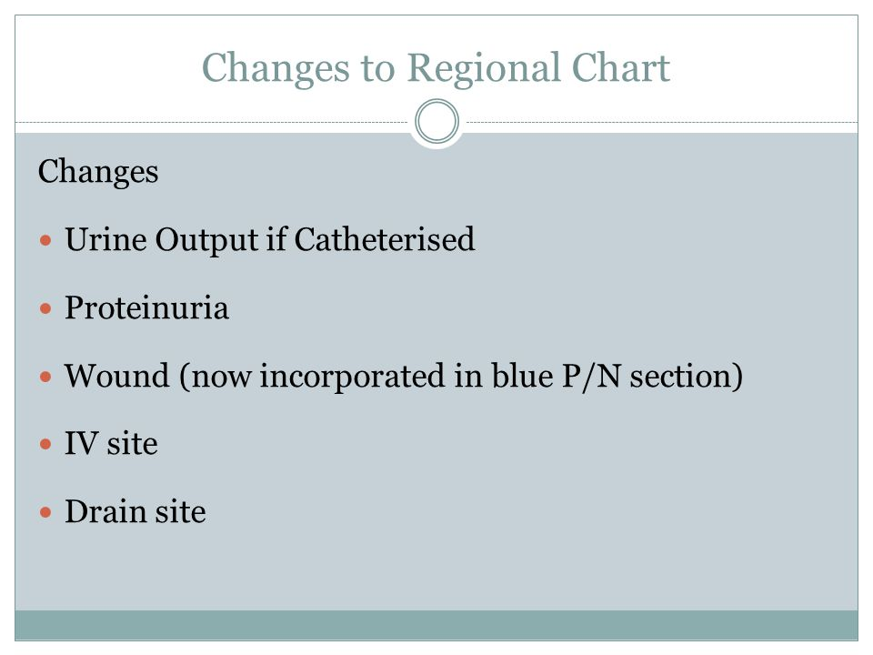 Changes to Regional Chart Changes Urine Output if Catheterised Proteinuria Wound (now incorporated in blue P/N section) IV site Drain site