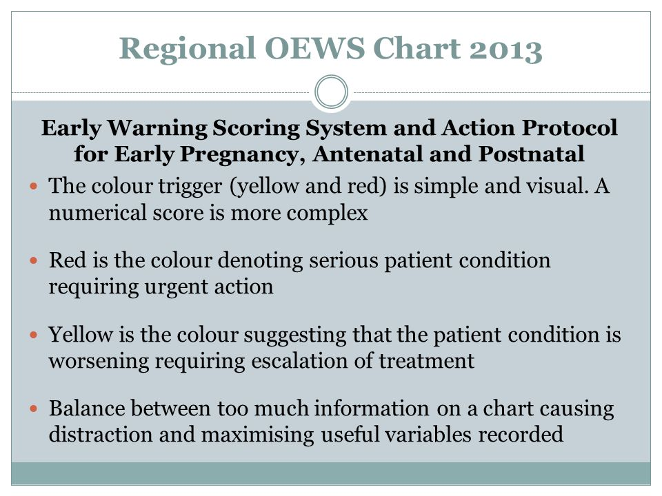 Regional OEWS Chart 2013 Early Warning Scoring System and Action Protocol for Early Pregnancy, Antenatal and Postnatal The colour trigger (yellow and