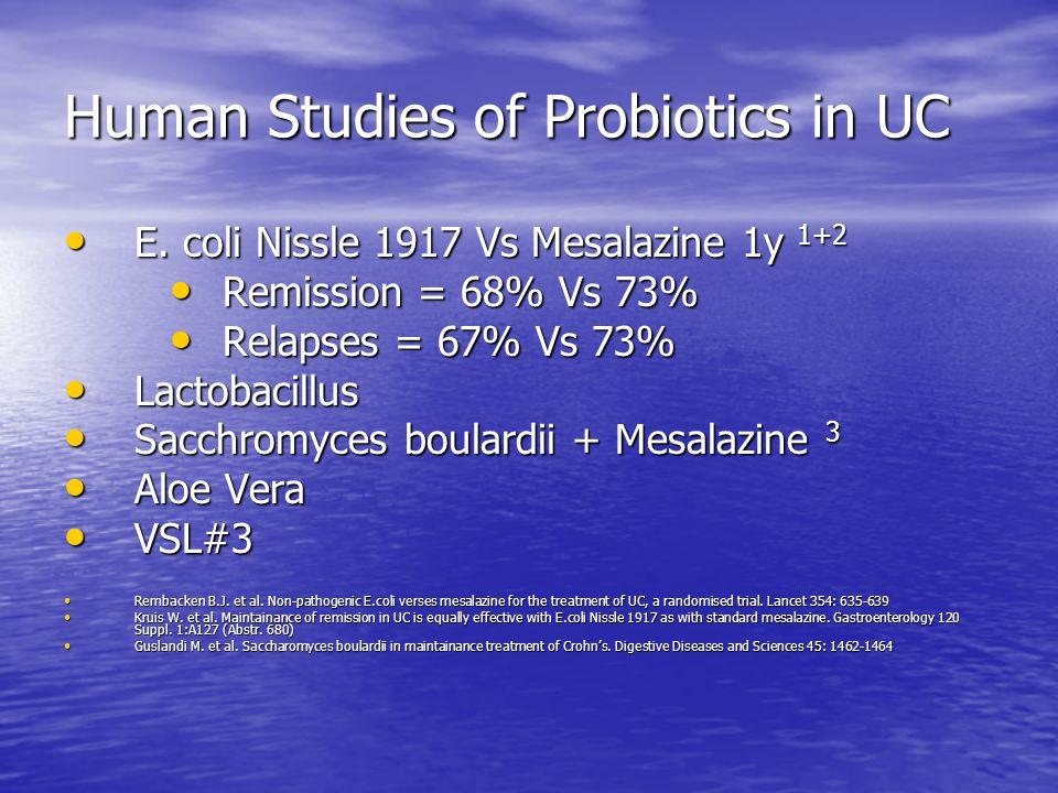 Human Studies of Probiotics in UC E. coli Nissle 1917 Vs Mesalazine 1y 1+2 E.