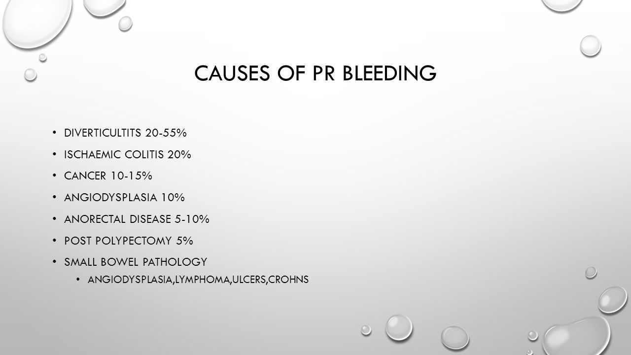CAUSES OF PR BLEEDING DIVERTICULTITS 20-55% ISCHAEMIC COLITIS 20% CANCER 10-15% ANGIODYSPLASIA 10% ANORECTAL DISEASE 5-10% POST POLYPECTOMY 5% SMALL BOWEL PATHOLOGY ANGIODYSPLASIA,LYMPHOMA,ULCERS,CROHNS