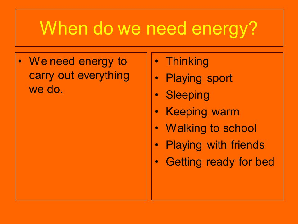 When do we need energy. We need energy to carry out everything we do.