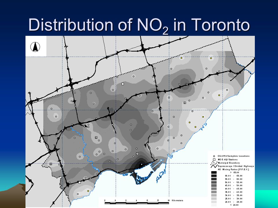 Distribution of NO 2 in Toronto