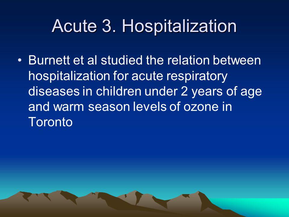 Acute 3. Hospitalization Burnett et al studied the relation between hospitalization for acute respiratory diseases in children under 2 years of age an