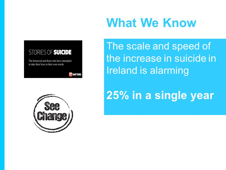 What We Know The scale and speed of the increase in suicide in Ireland is alarming 25% in a single year