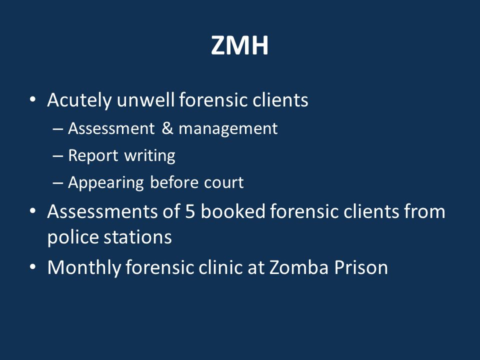 Achievements All booked forensic clients are assessed same day Reports are written same day Intervention for acutely unwell Some booked forensic clients are diverted for management