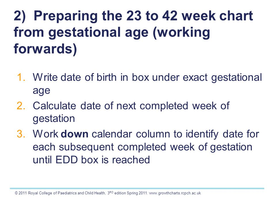 © 2011 Royal College of Paediatrics and Child Health, 3 RD edition Spring 2011. www.growthcharts.rcpch.ac.uk 2) Preparing the 23 to 42 week chart from