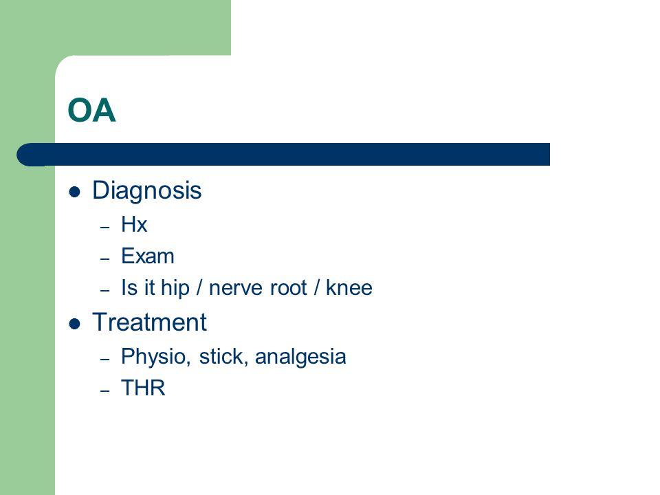 OA Diagnosis – Hx – Exam – Is it hip / nerve root / knee Treatment – Physio, stick, analgesia – THR