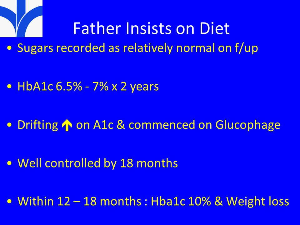 Father Insists on Diet Sugars recorded as relatively normal on f/up HbA1c 6.5% - 7% x 2 years Drifting  on A1c & commenced on Glucophage Well controlled by 18 months Within 12 – 18 months : Hba1c 10% & Weight loss