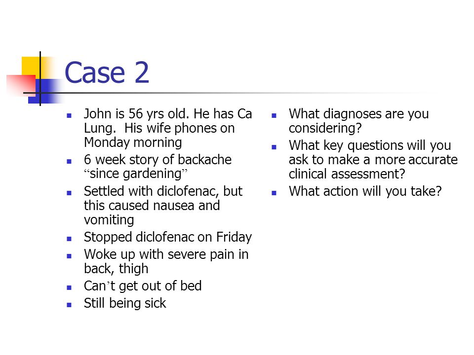Case 2 John is 56 yrs old. He has Ca Lung.