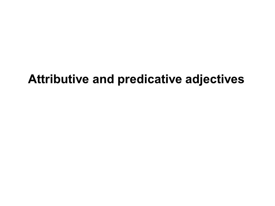 Attributive and predicative adjectives