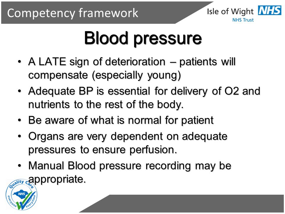 Competency framework Blood pressure A LATE sign of deterioration – patients will compensate (especially young)A LATE sign of deterioration – patients