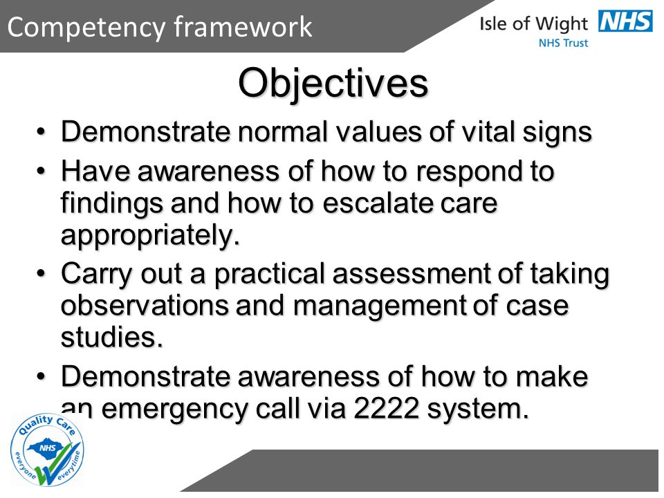 Objectives Demonstrate normal values of vital signsDemonstrate normal values of vital signs Have awareness of how to respond to findings and how to es