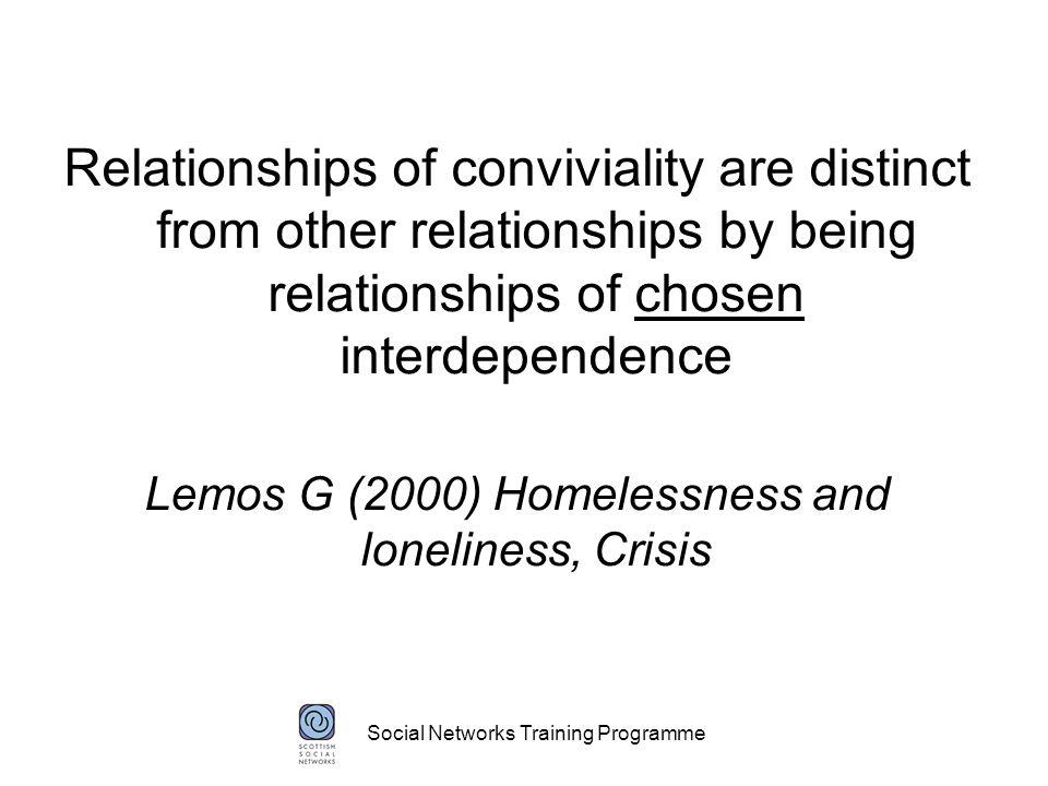 Social Networks Training Programme Ben (Community Psychiatric Nurse) Dr Scott (GP) Sam (Housing Support Worker) Jenny (Social Worker) Lynne (flat mate) Susan (cousin) ME