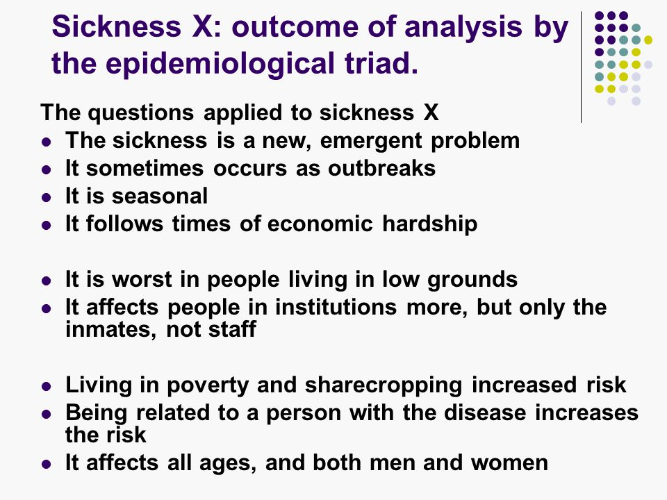 Sickness X: outcome of analysis by the epidemiological triad.
