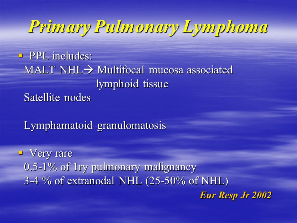 Primary Pulmonary Lymphoma  Definition: Clonal lymphoid proliferation Clonal lymphoid proliferation affecting lung (parenchyma or airway) affecting l