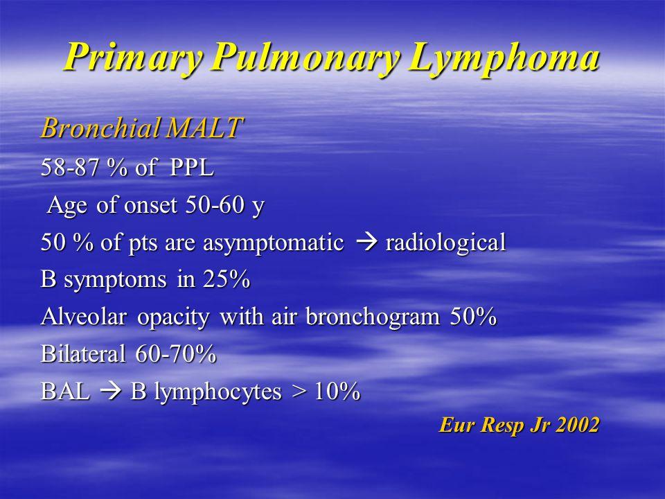 Primary Pulmonary Lymphoma  Classification: Bronchial MALT most frequent  Pesudolymphoma Slowly progressive & relative benign histology 90% correspond to MALT NHL No documented triggering antigen for bronchial MALT ( H.pylori equivalent )  Autoimmune diseases  Autoimmune diseases Eur Resp Jr 2002 Eur Resp Jr 2002
