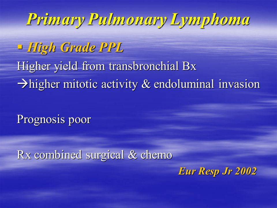 Primary Pulmonary Lymphoma  High Grade PPL 11-19% of PPL Age 60y Solid organ Tx, HIV, Sjogren Syndrome Pts symptomatic  fever,wt loss Single pulmonary mass Multiple cavitatory lesions in HIV Eur Resp Jr 2002 Eur Resp Jr 2002