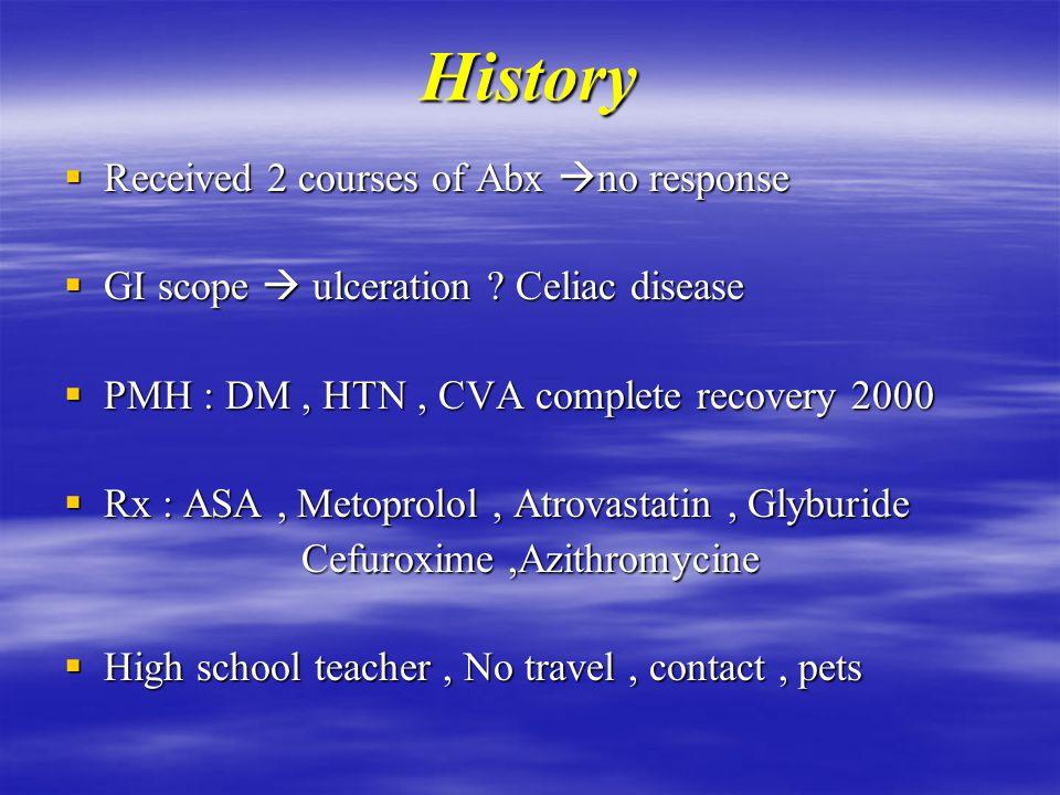History  Dry cough & SOB II – III  Fever, night sweating  Wt loss 3o Ibs  Abd.