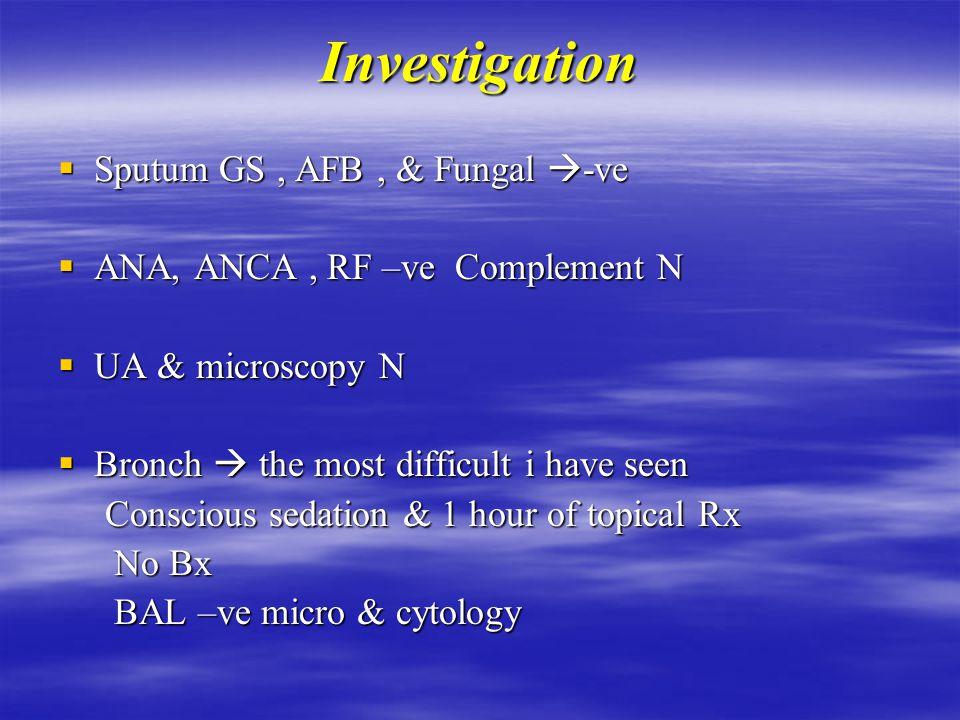 Investigation  WBC 16 Poly 13 Hb 120 MCV N Hb 120 MCV N Plt 400 INR 10 PTT 55 Plt 400 INR 10 PTT 55  Creat 120 BUN 13  ABG PH 7.40 PCO 35 PO2 150 on 6l O2  LFT Mild cholestasis  CXR & CT Chest