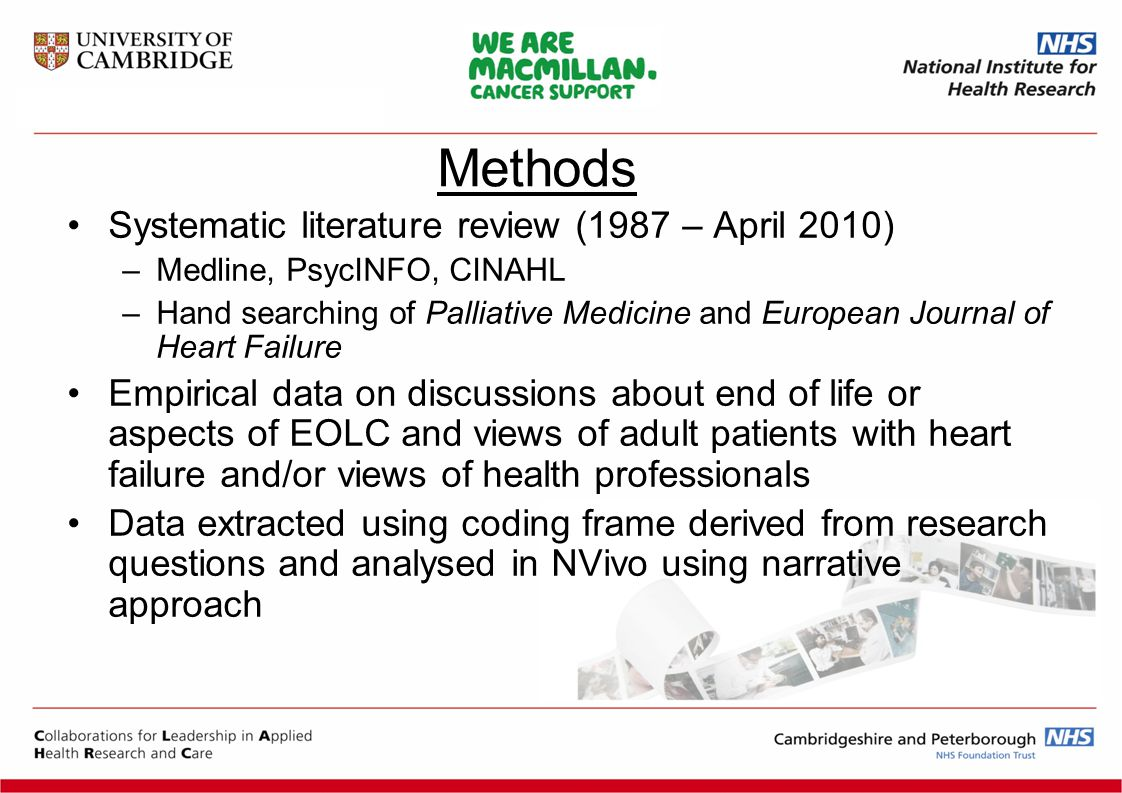 Systematic literature review (1987 – April 2010) –Medline, PsycINFO, CINAHL –Hand searching of Palliative Medicine and European Journal of Heart Failure Empirical data on discussions about end of life or aspects of EOLC and views of adult patients with heart failure and/or views of health professionals Data extracted using coding frame derived from research questions and analysed in NVivo using narrative approach Methods