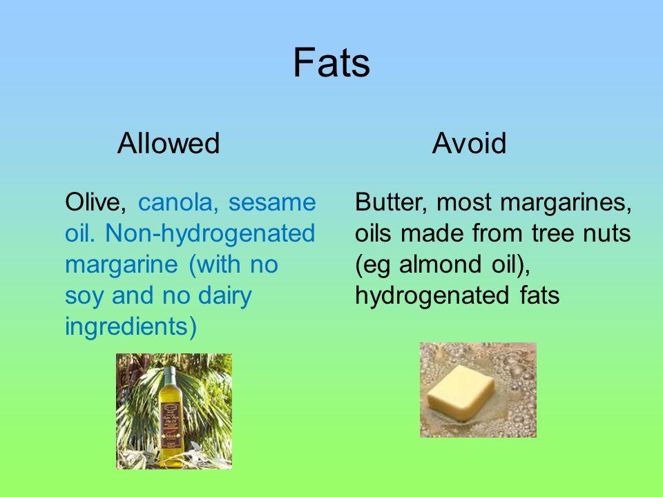 Fats Olive, canola, sesame oil.