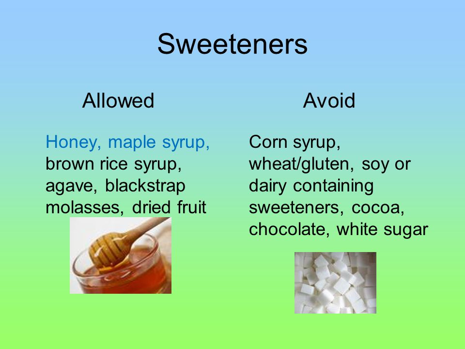 Sweeteners Honey, maple syrup, brown rice syrup, agave, blackstrap molasses, dried fruit Corn syrup, wheat/gluten, soy or dairy containing sweeteners, cocoa, chocolate, white sugar AllowedAvoid