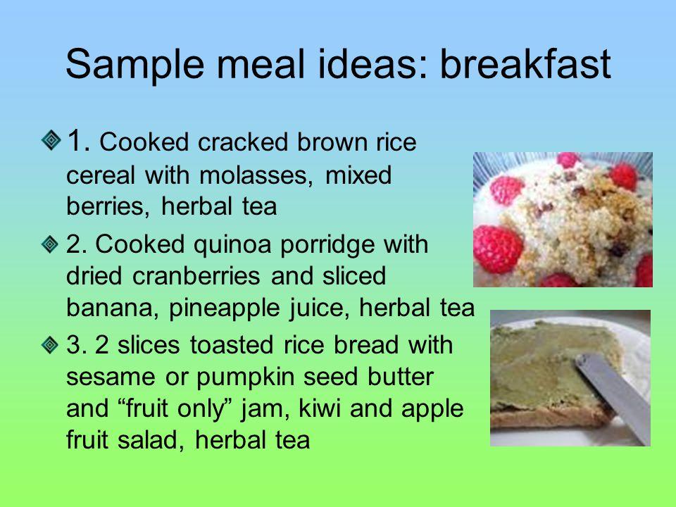 Sample meal ideas: breakfast 1.