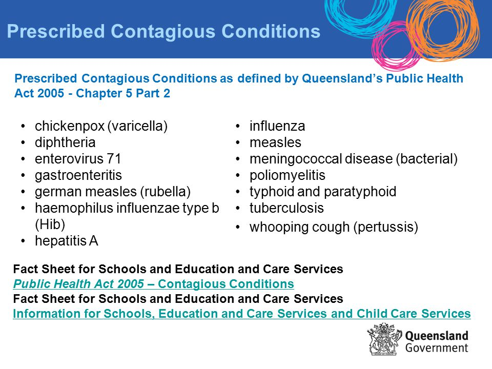Prescribed Contagious Conditions as defined by Queensland's Public Health Act 2005 - Chapter 5 Part 2 chickenpox (varicella) diphtheria enterovirus 71